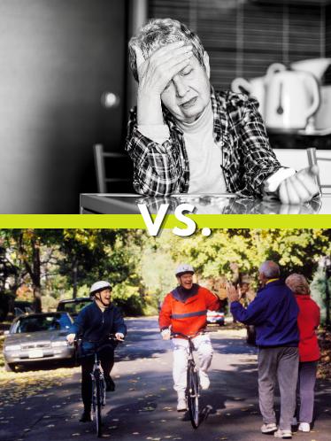 split comparison; an elderly woman looking ill versus an elderly couple happily biking in a park