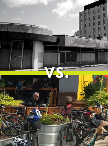 split comparison; an abandoned boarded-up building versus a couple dining outdoors near amongst flowers and an occupied bike rack