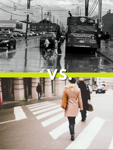 split comparison; a crowded street with jaywalkers versus people relaxed in a crosswalk